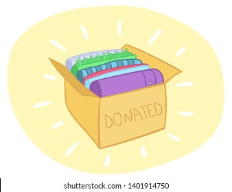 Cloth donation box vector with colorful clothes in it. Charity card-box with apparel. Vector Illustration of Clothes Donation Box. Reduce and reuse concept. Eco living.