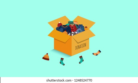 Cloth Donation Box Vector with Warm clothes in it.