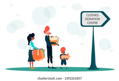 Cloth donation concept vector illustration. Family charity old clothes to clothes donation center. Mindfull lifestyle.