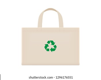 cloth eco bags blank or cotton yarn cloth bags, empty bags and green recycling symbol isolated on white, fabric cloth eco bag brown empty template for campaign to use bags to reduce waste plastic
