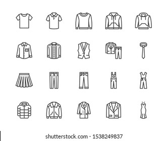 Cloth flat line icons set. Apparel - jacket, hoody, sweatshirt, male pants, polo shirt, jeans, coat, tie vector illustrations. Outline signs for fashion store. Pixel perfect. Editable Strokes.