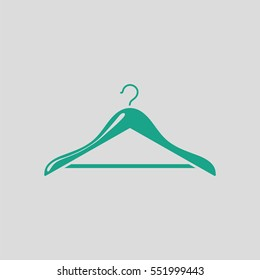 Cloth hanger icon. Gray background with green. Vector illustration.