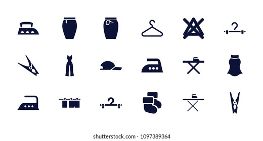 Cloth icon. collection of 18 cloth filled icons such as ironing table, iron, no bleaching, hanger, skirt, baby socks, jumpsuit. editable cloth icons for web and mobile.