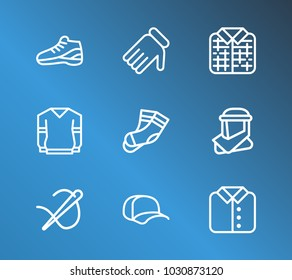 Cloth icon set and plaid with shirt, arab cloth and cap. Hosiery related cloth icon vector items for web UI logo design.