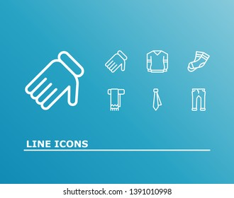 Cloth icon set and tie with pants, jersey and scarf. Hosiery related cloth icon vector for web UI logo design.