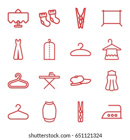 Cloth icons set. set of 16 cloth outline icons such as restaurant table, baby socks, hanger, cloth pin, ironing table, clothes on hanger, iron, jumpsuit, skirt