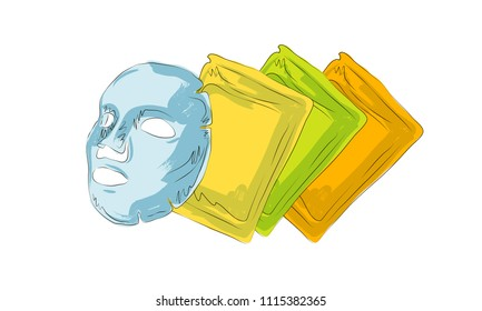 cloth mask cosmetics, sketch of cosmetics, how to apply facial cosmetic mask line color icons set