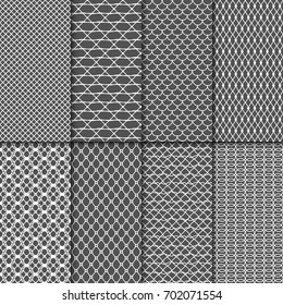 Cloth seamless patterns. Fabric net vector textures. Lace meshes collection. Mesh seamless background set