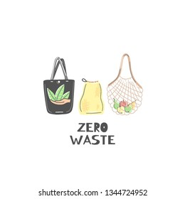 Clothe or string bag instead of plastic. Zero waste lifestyle. Eco friendly. Save planet. Care of nature. Vegan. Go green. Refuse, reduce, reuse, recycle, rot. Wasteless technology. Vector, eps10