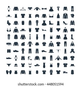 Clothes 100 icons set on white background