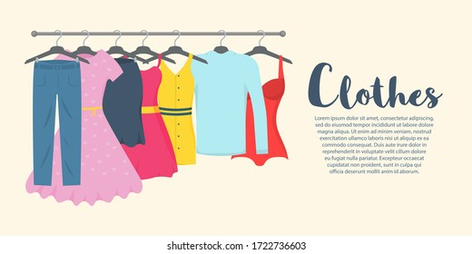 Clothes and accessories Fashion icon set. New fashion collection. Men and women casual clothes on a hanger in store. Seasonal sale concept. Vector illustration of a flat plane style. EPS 10.