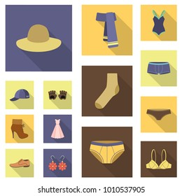 Clothes and accessories flat icons in set collection for design. Shoes and decoration vector symbol stock web illustration.