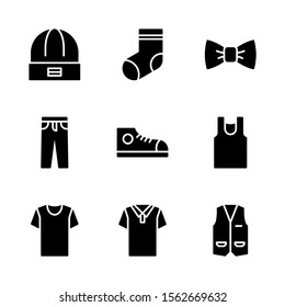Clothes & Accessories Icon Set Including Beanie, Socks, Bow Tie, Trouser, Shoes, Tank Top, T-Shirt, Polo Shirt and Vest