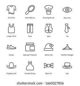 Clothes and Accessories  Outline Icons - Vectors