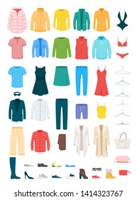 Clothes and accessories vector illustrations set. Men and women footwear isolated cliparts pack. Winter and summer seasonal outfits. Female fashionable bags and totes. Jackets, shirts, outerwear