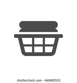 Clothes basket icon in black and white grey single color. Laundry household