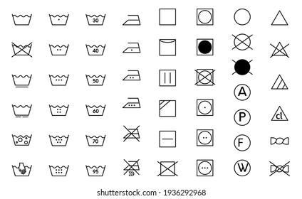 Clothes care icon set. Laundry symbols, black monochrome vector illustration isolated on white. - Shutterstock ID 1936292968