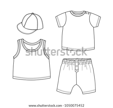 Boy Clothes Design Template Setvest T Shirtpants And Cap