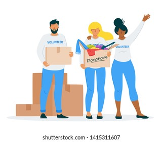 Clothes donating to charity flat vector illustration. Young students, volunteers group holding cardboard boxes with old belongings. Voluntary, social center workers cartoon characters