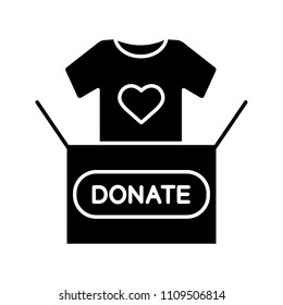 Clothes donating glyph icon. Charity silhouette symbol. Donation box with t-shirt. Used clothes. Negative space. Vector isolated illustration