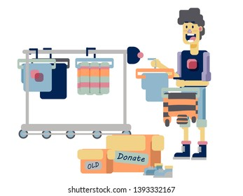 Clothes donation flat vector illustration. Mindfull living concept illustration. Ergonomic lifestyle. Helping to needy people. Give old clothes second chance.