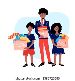 Clothes donation. Hand drawn  African American family holding donation boxes. Man, boy and girl caring boxes for clothes donation. Vector illustration