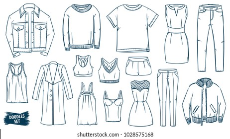 Clothes doodles set. Fashion sketch. Apparel. Outfit. Fashion collection. Casual style. Fashion doodles. Clothes sketches. Travel luggage. Jeans wear. Dress. Coat. Jacket. Leggins. Sweater. T-shirt.