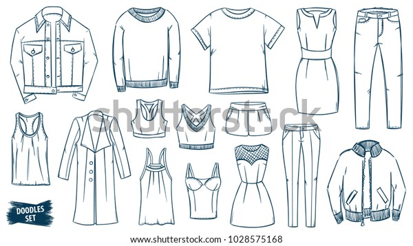 Clothes Doodles Set Fashion Sketch Apparel Stock Vector