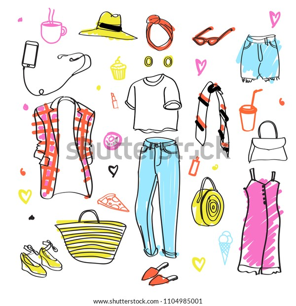 Clothes Doodles Set Fashion Sketch Apparel Stock Vector Royalty Free 1104985001