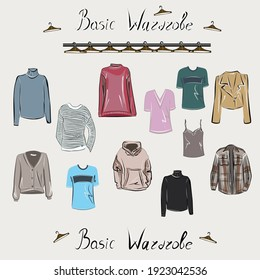 Clothes, footwear,  shoes and bags. Coats, dresses, skirts, blouses, trousers, jeans, backpack, briefcase, handbags. Fashion. The basic wardrobe of a minimalist. Isolated vector object.