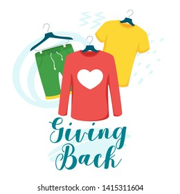 Clothes giving back vector lettering. Children and women t-shirt, shorts on hangers isolated clipart. Apparel hanging in boutique. Kids fashion clothes store. Volunteering, clothing donation, sharing