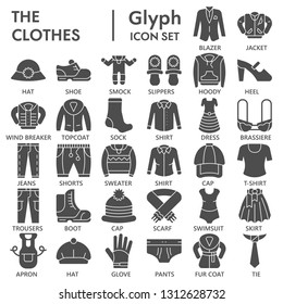 Clothes glyph icon set, clothing symbols collection, vector sketches, logo illustrations, garment signs solid pictograms package isolated on white background, eps 10