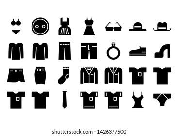 clothes glyph icon symbol set