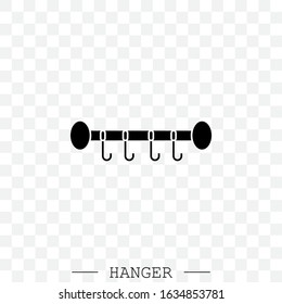 clothes hanger black icon vector. icon of hanger for clothes. Hanger with hooks. Hanger for towels and hats
