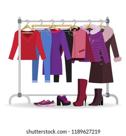 Clothes hanger with different casual woman clothes, footwear. Wardrobe with jeans, jackets, coat, dress. Autumn, winter, seasonal clothes. Vector illustration in flat style.