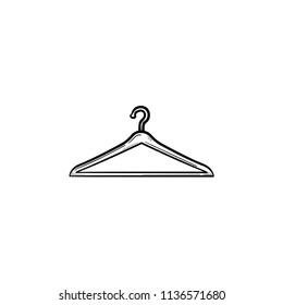 Clothes hanger hand drawn outline doodle icon. Fashion, casual, sale, store, retail, shop, wardrobe concept. Vector sketch illustration for print, web, mobile and infographics on white background.