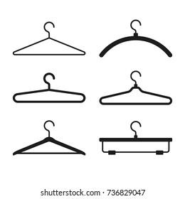Clothes Hanger Icons Set. Vector