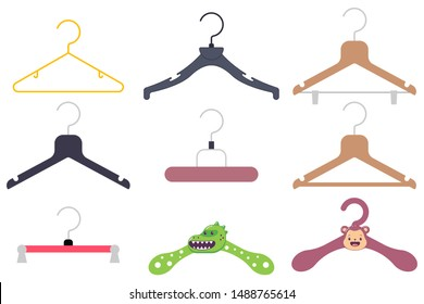Clothes hanger vector cartoon flat icon set isolated on a white background.