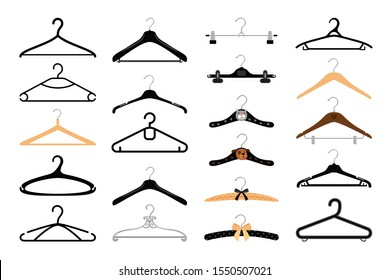 Clothes hangers set. Coat and dress colorful hanger set isolated on white background, wood metal and baby empty fashion clothing hooks
