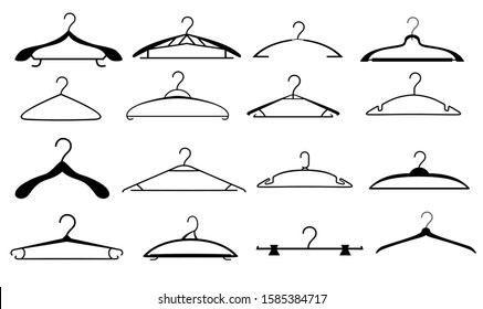 Clothes hangers set. Hanger silhouettes. Hangers clothes fashion. Coat and dress  hanger set isolated on white background, wood metal and baby empty fashion clothing hooks. Vector illustration.
