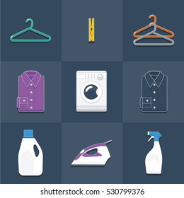 Clothes hangers, washing machine, detergent, stain remover, shirts, iron, and clothes pegs laundry themed flat style vector illustration