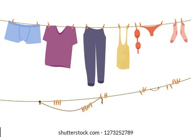 Clothes hanging on a rope, Flat vector illustration isolated on white background with wash clothes, linen on the rope, cartoon flat illustration