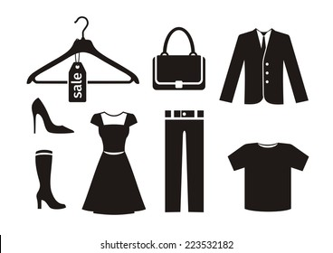 Clothes icon set in black color on white background. Trousers hanger bag jacket woman shoes dress T-shirt silhouettes