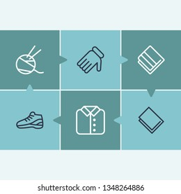 Clothes icon set and sneaker with linen, knit and gloves. Washcloth related clothes icon vector for web UI logo design.