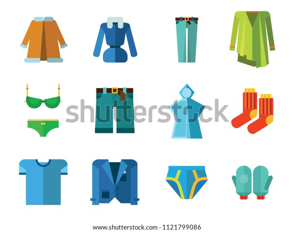 Clothes Icon Set. T-shirt Socks Mittens Male Underpants Rain Poncho Female Underwear Denim Shorts Jeans Jacket Coat Green Clothing Item Waistcoat