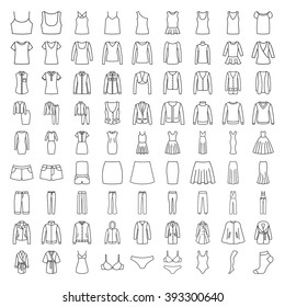 Clothes icons. Line icons. Icons men, women fashion clothes
