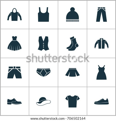 9284ffea Clothes Icons Set. Collection Of Dress, Stylish Apparel, Beanie And Other  Elements. Also Includes Symbols Such As Sweatshirt, Clothes, Vest. - Vector