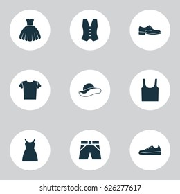 Clothes Icons Set. Collection Of Elegant Headgear, Dress, Elegance And Other Elements. Also Includes Symbols Such As Sneakers, Elegant, Cloth.
