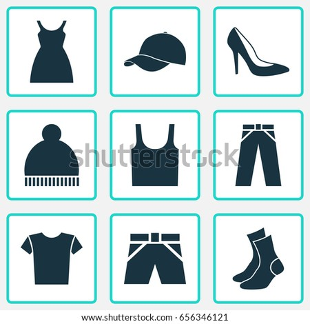 fdb58bf0 Clothes Icons Set. Collection Of Half-Hose, Casual, Singlet And Other  Elements. Also Includes Symbols Such As Ski, Trilby, Clothes. - Vector