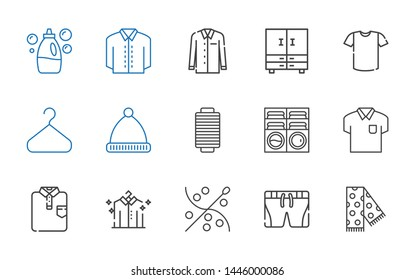clothes icons set. Collection of clothes with scarf, shorts, sewing, shirt, washing machine, thread, winter hat, hanger, closet, detergent. Editable and scalable clothes icons.